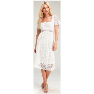 Lulu's Loved to be Loved White Lace Midi Dress